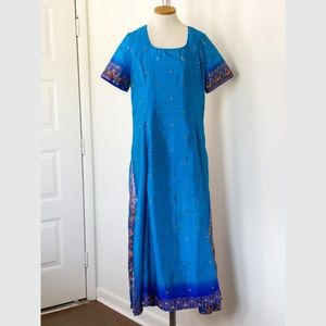 Embroidered M Silk Dress India Inspired Handmade